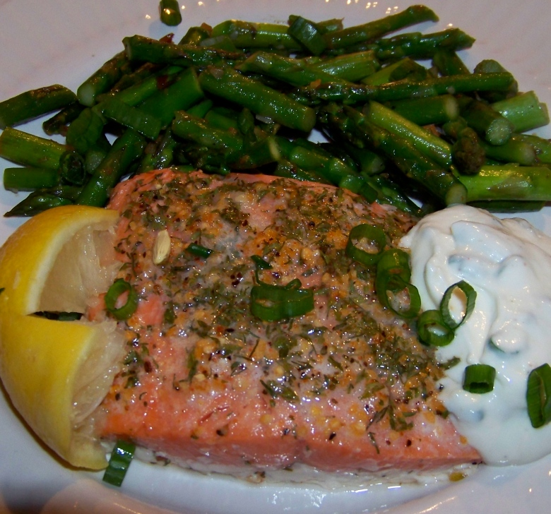 Asparagus with Salmon and Horseradish Sauce