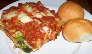 Turkey Broccoli Lasagna and Rolls